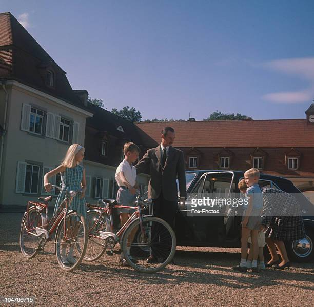 Grand Duke Jean Of Luxembourg with his wife Josephine-Charlotte of Belgium and their children, Princess Marie Astrid and Princes Henri, Jean and...