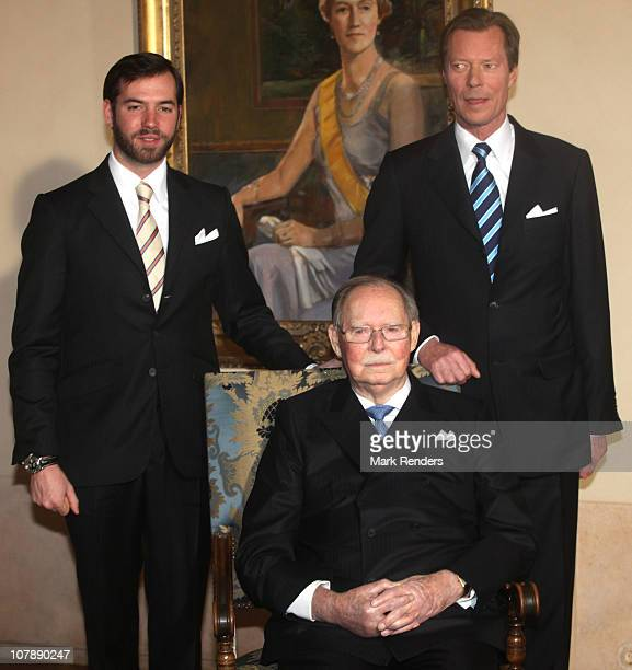 Grand Duke Jean Prince Guillaume and Grand Duke Henri of Luxembourg pose for a photo at the Palais Grand Ducal on the occasion of Grand Duke Jean's...