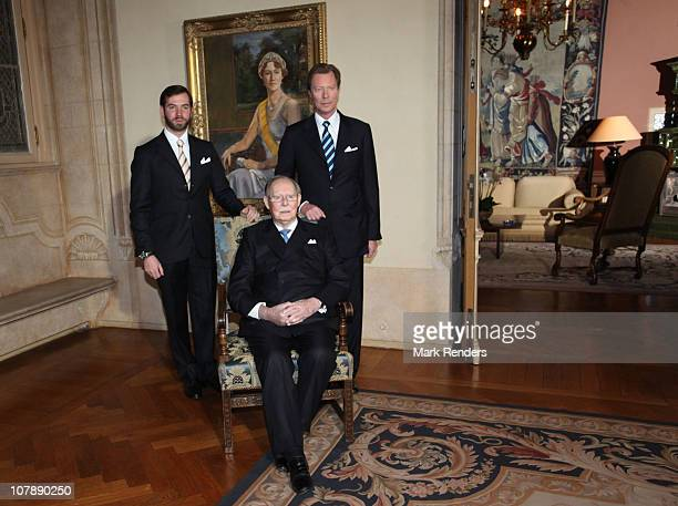 Grand Duke Jean, Prince Guillaume and Grand Duke Henri of Luxembourg pose for a photo at the Palais Grand Ducal on the occasion of Grand Duke Jean's...