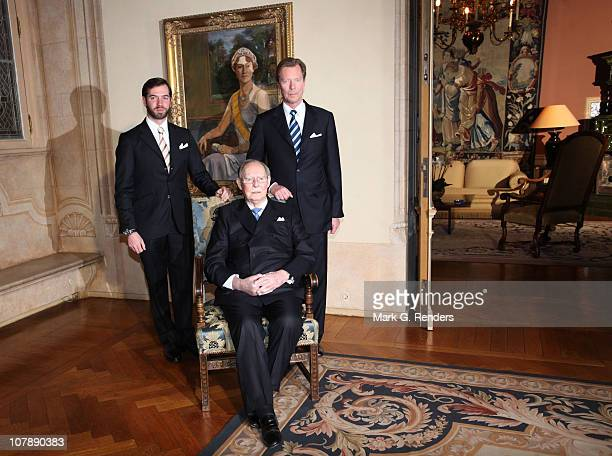 Grand Duke Jean, Prince Guillaume and Grand Duke Henri of Luxembourg pose for a photo at the Palais Grand Ducale on the occasion of the 90th birthday...