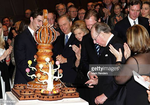 Grand Duke Jean receives a birthday cake fot his 90th birthday at the Philharmonie on January 5, 2011 in Luxembourg, Luxembourg.