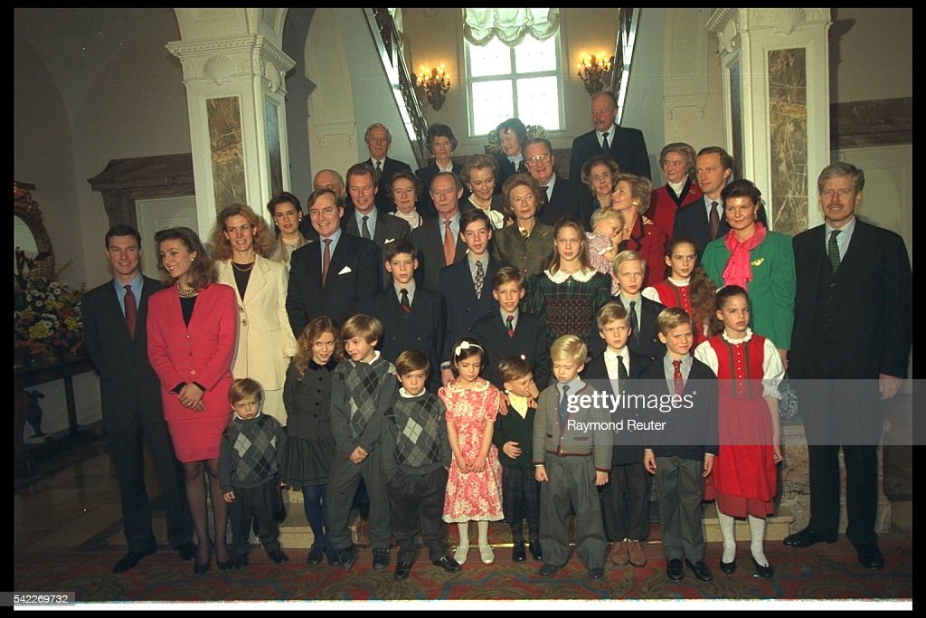 Grand Duke Jean with his family for a group photograph on his 75th birthday.