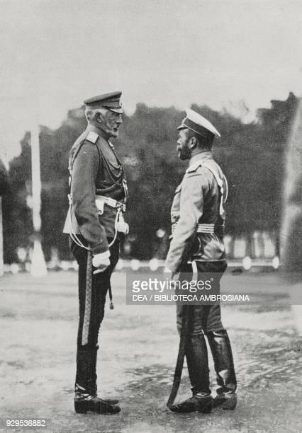 Grand Duke Nikolay Nikolayevich Romanov Supreme Commander of the Russian Army speaking with Tsar Nicholas II Russia World War I from L'Illustrazione...