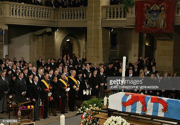Grand Duke of Luxembourg Jean Grand Duke Henri Grand Duchess Maria Teresa Grand Duke Guillaume Belgian King Albert II Belgian Queen Paola and Belgian...