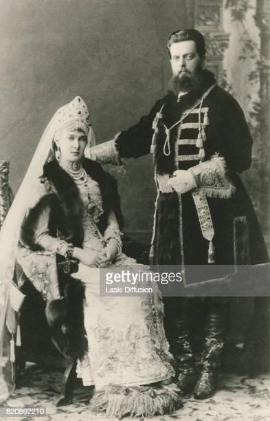 Grand Duke Vladimir Alexandrovich Romanov with his wife Marie of MecklenburgSchwerin Russia circa 1890
