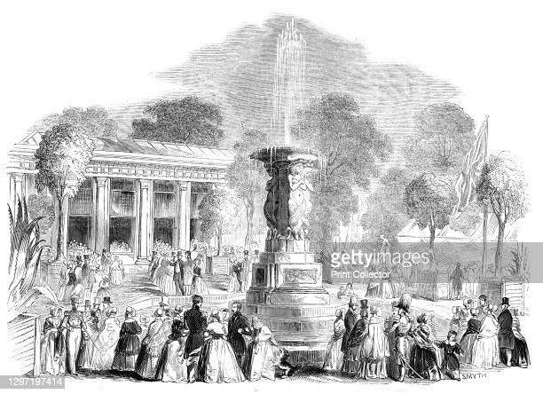 Grand Fete at Mount Edgecumbe - the Bazaar and Italian Gardens, 1844. Event held at Mount Edgcumbe House in Cornwall, 'in aid of the funds of the...