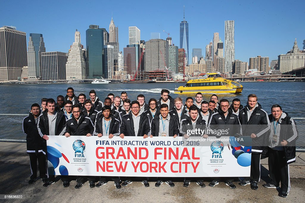 Grand Finalists of the FIFA Interactive World Cup 2016 visit New York downtown on March 21, 2016 in New York City.