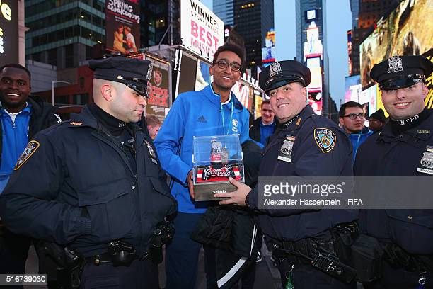 Grand Finalists of the FIFA Interactive World Cup 2016 visiting the New York Time Square on March 20 2016 in New York City