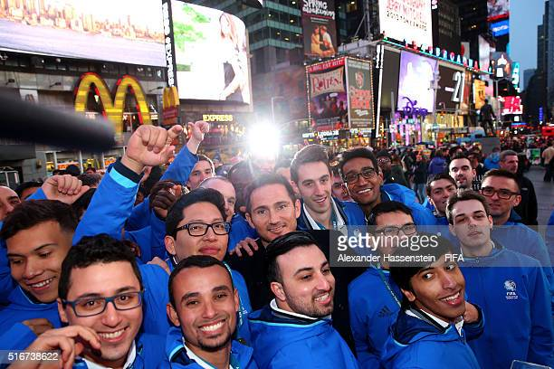 Grand Finalists of the FIFA Interactive World Cup 2016 visiting with Frank Lampard the New York Time Square on March 20 2016 in New York City