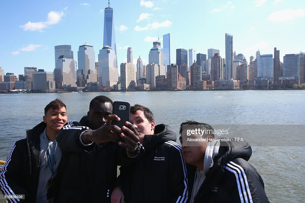 Grand Finalists Rodrigo Araujo poses with Darren John of the US, Dylan Bance of France and Roerto Ramirez of Mexico during a New York City downtown sightseeing tour for the FIFA Interactive World Cup 2016 Grand Finalist on March 21, 2016 in New York City.