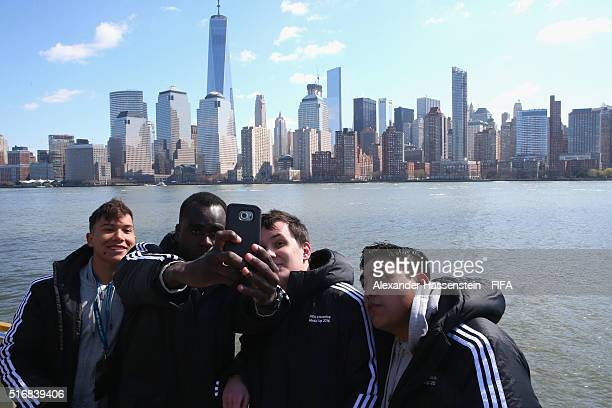Grand Finalists Rodrigo Araujo poses with Darren John of the US Dylan Bance of France and Roerto Ramirez of Mexico during a New York City downtown...