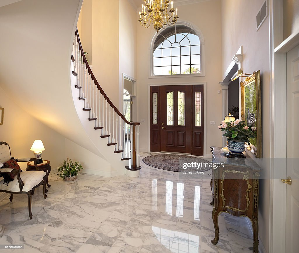 Foyer Marble Tile Designs : Grand foyer staircase chandelier marble floor showcase