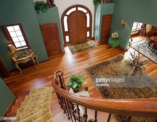grand foyer viewed from staircase - rug stock pictures, royalty-free photos & images
