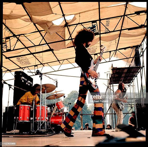 Grand Funk Railroad, L-R Donald Brewer, Mel Schacher and Mark Farner, perform on stage at Hyde Park, London, 3rd July 1971.