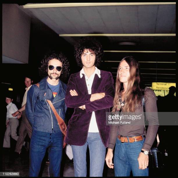 Grand Funk Railroad, L-R Donald Brewer, Mel Schacher and Mark Farner, group portrait at Heathrow Airport, London, 1971.