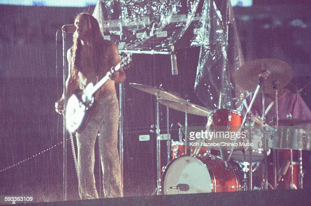 Grand Funk Railroad Mark Farner legendary live at Korakuen Stadium hit by torrential rain, Tokyo, July 17, 1971.