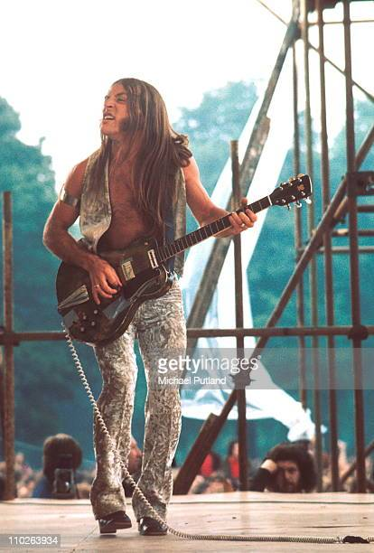 Grand Funk Railroad, Mark Farner, performs on stage at Hyde Park, London, 3rd July 1971.