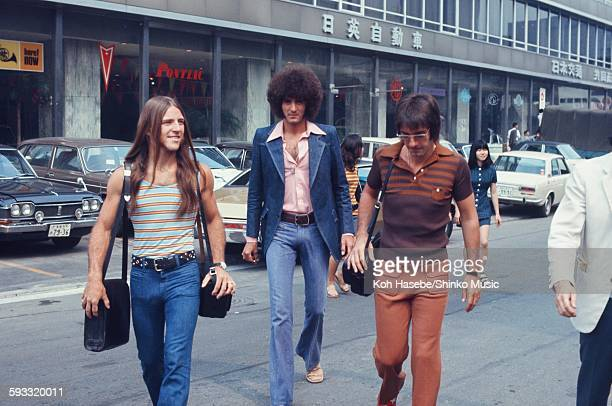 Grand Funk Railroad on travel day during their first Japan tour, Tokyo, July 1971.