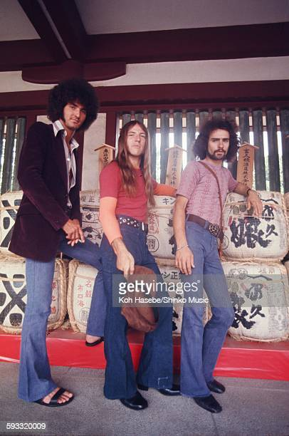 Grand Funk Railroad photo session at shrine on their first visit to Japan, Tokyo, July 1971.