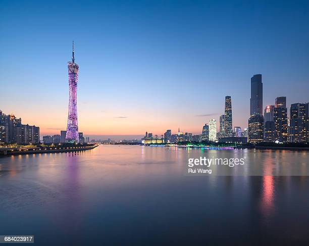 grand guangzhou skyline at night - guangzhou stock pictures, royalty-free photos & images