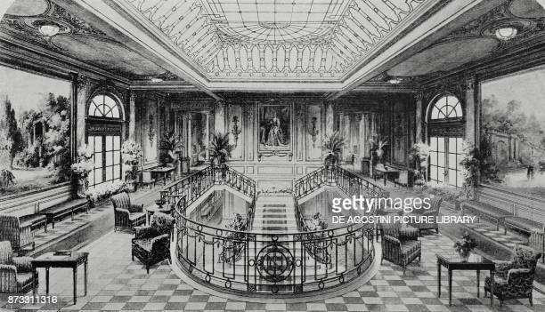 Grand hall and staircase of the Italian steamer Duilio drawing from L'Illustrazione Italiana Year XLIII No 13 March 26 1916