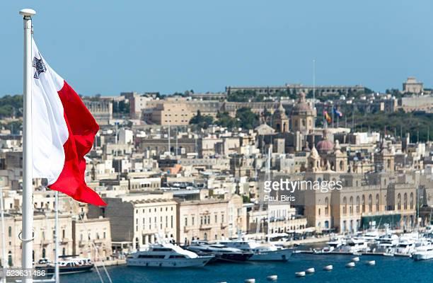Grand Harbour Marina and the city of Birgu, Vittoriosa view from Barrakka Garden, Malta