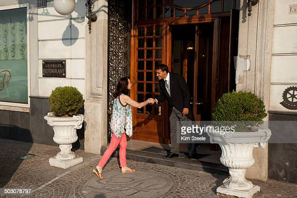 grand hotel parkers, naples, italy - doorman stock photos and pictures