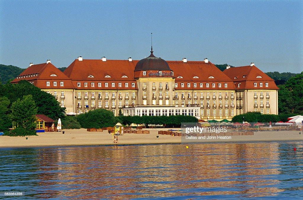 Grand Hotel, Sopot Beach, Sopot, Baltic Sea, Poland : Stock Photo