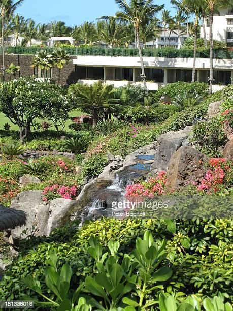 Grand HyattHotel Kauai Hawaiian Island Insel SüdPazifik PoipuBeach Palme Fluss Wasserfall Palmen Wasser Natur Reise TP DIGPNr 1335/2007