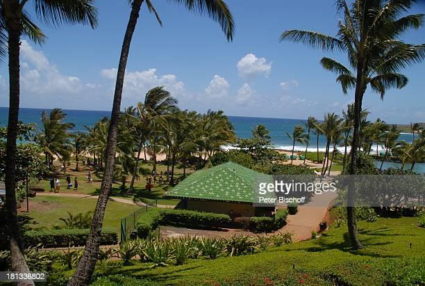 Grand Hyatt-Hotel, Kauai, Hawaiian Island, Insel, Süd-Pazifik, Poipu-Beach, Busch, Palme, Palmen, Garten, Gebäude, Meer, Ausblick, Natur, Reise, TP,...