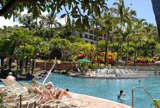 Grand Hyatt-Hotel, Kauai, Hawaiian Island, Insel, Süd-Pazifik, Poipu-Beach, Palme, Palmen, Pool, Wasser, Sonnenliegen, Sonnenliege, Natur, Reise, TP,...