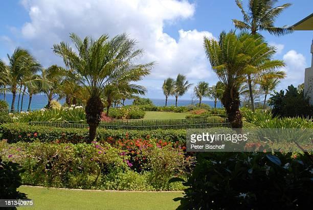 Grand Hyatt-Hotel, Kauai, Hawaiian Island, Insel, Süd-Pazifik, Poipu-Beach, Busch, Gebüsch, Baum, Meer, Ausblick, Wasser, Garten, Palme, Palmen,...