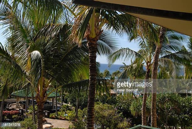 Grand Hyatt-Hotel, Kauai, Hawaiian Island, Insel, Süd-Pazifik, Poipu-Beach, Palme, Palmen, Garten, Gebäude, Meer, Ausblick, Natur, Reise, TP,...