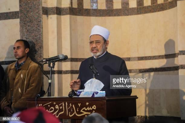 Grand Imam of alAzhar Sheikh Ahmed elTayeb gives a speech following the Friday prayers inside alRawda mosque at Bir alAbd town near Arish 400km...