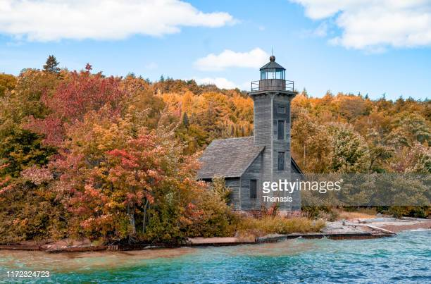 grand island east channel lighthouse - stock photo - pictured rocks national lakeshore stock pictures, royalty-free photos & images