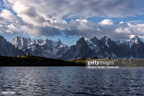 grand jorasses and dent du geant, france - rhone alpes stock photos and pictures