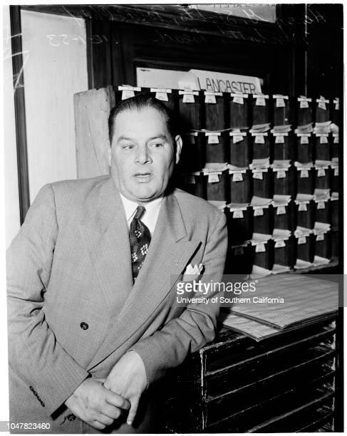 Grand Jury investigation 1 December 1953 Harry G Sights Manhattan Beach Chief of PoliceCaption slip reads 'Photographer Hecht Date Reporter Emerson...