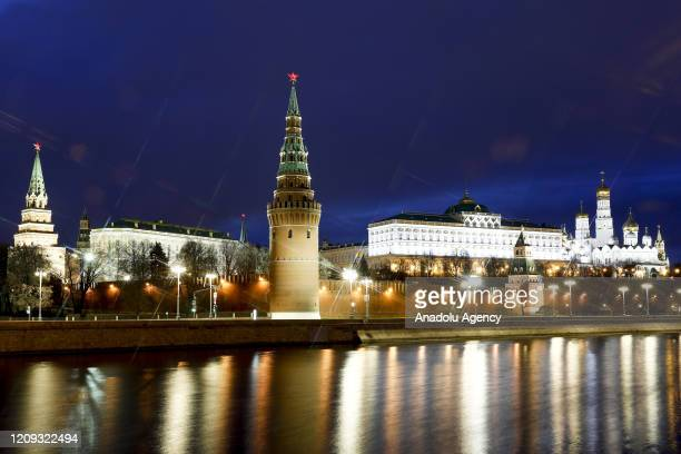 Grand Kremlin Palace, Cathedral of Christ the Saviour and Moscow River are seen empty due to the preventive measures against the new type of...