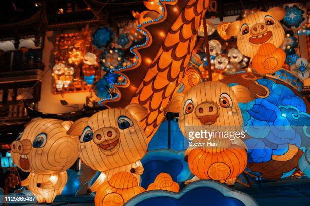 grand lantern shows of the yu yuan garden in shanghai, a warm-up of the coming chinese new year - chinese cultuur stockfoto's en -beelden