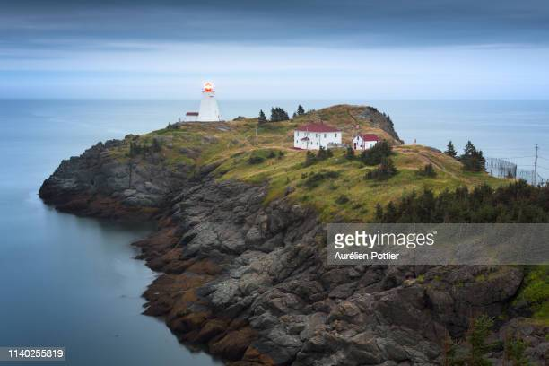 grand manan island, swallow tail lighthouse - atlantic ocean stock pictures, royalty-free photos & images
