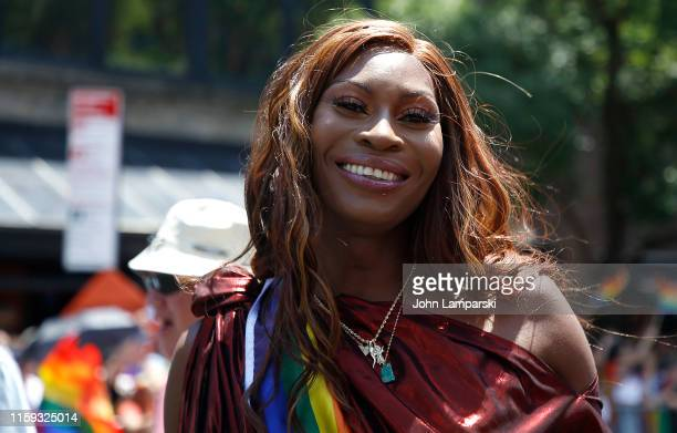 Grand Marshal Angelica Ross is seen during the Pride March WorldPride NYC 2019 on June 30 2019 in New York City