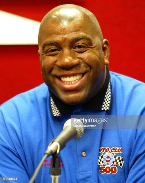 Grand Marshal for the Auto Club 500 Earvin Magic Johnson speaks during a press conference before the NASCAR Nextel Cup Auto Club 500 on February 27...