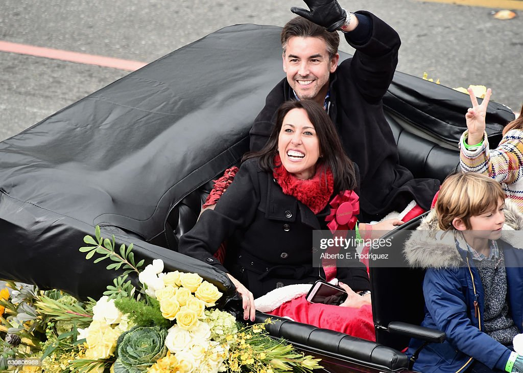 Grand Marshal Janet Evans (L) participates in the 128th Tournament of Roses Parade Presented by Honda on January 2, 2017 in Pasadena, California.