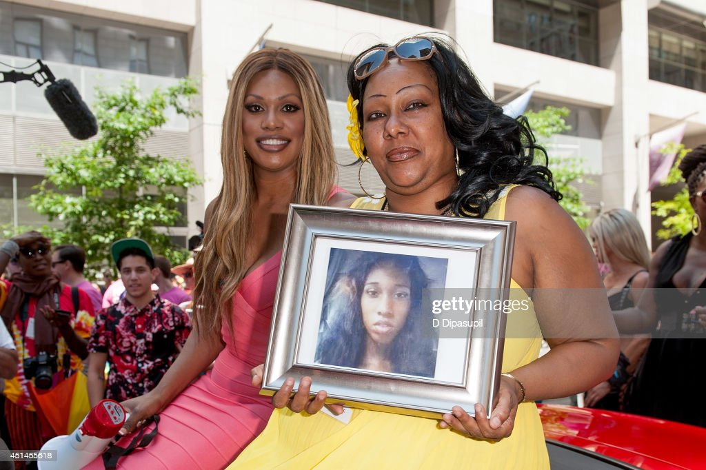 Grand Marshal Laverne Cox (L) and Delores Nettles, mother of slain transgender woman Islan Nettles, attend the 2014 NYC Pride March on June 29, 2014 in New York City.
