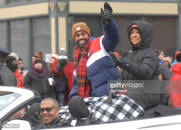 Grand Marshall Big Sean his mother Myra Anderson are driven down Woodward Ave by Detroit Police Chief James Craig during the 91st America's...