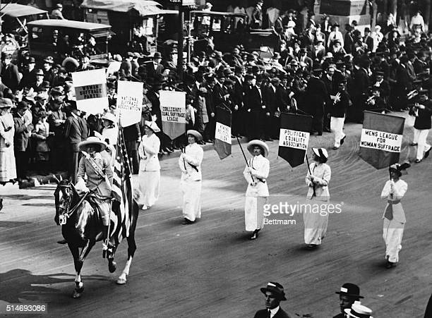 Grand Marshall Inez Milholland leads a procession of 30000 marchers in New York during a suffragist parade