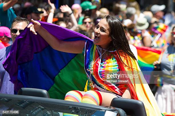 Grand Marshall Jazz Jennings attends the 2016 Pride March on June 26 2016 in New York City