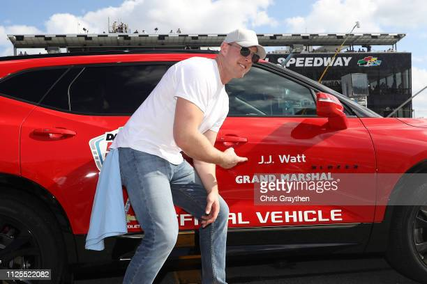 Grand Marshall NFL player JJ Watt poses during the Monster Energy NASCAR Cup Series 61st Annual Daytona 500 at Daytona International Speedway on...