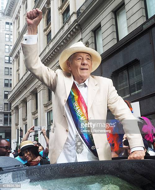 Grand Marshall Sir Ian McKellan during the 2015 New York City Pride Parade on June 28 2015 in New York City