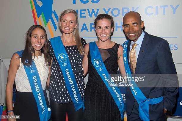 Grand Marshals Desiree Linden Shalene Flanagan Amy CraggHastings and Honoree Meb Keflezighi attend the 2016 New York Road Runners Night Of Champions...
